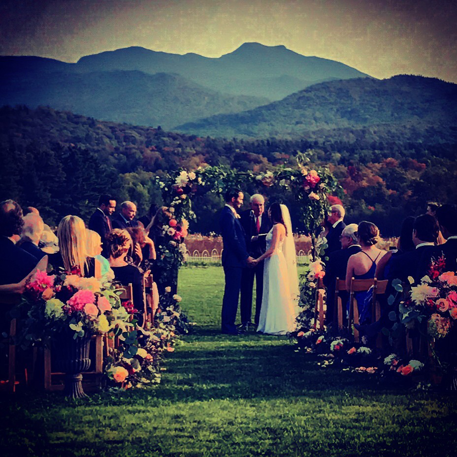 Vermont's Tallest Peak, Mt. Mansfield is a stunning backdrop for your Stowe Wedding ceremony on the Great Lawn! Image: Steve DePalma iPhone