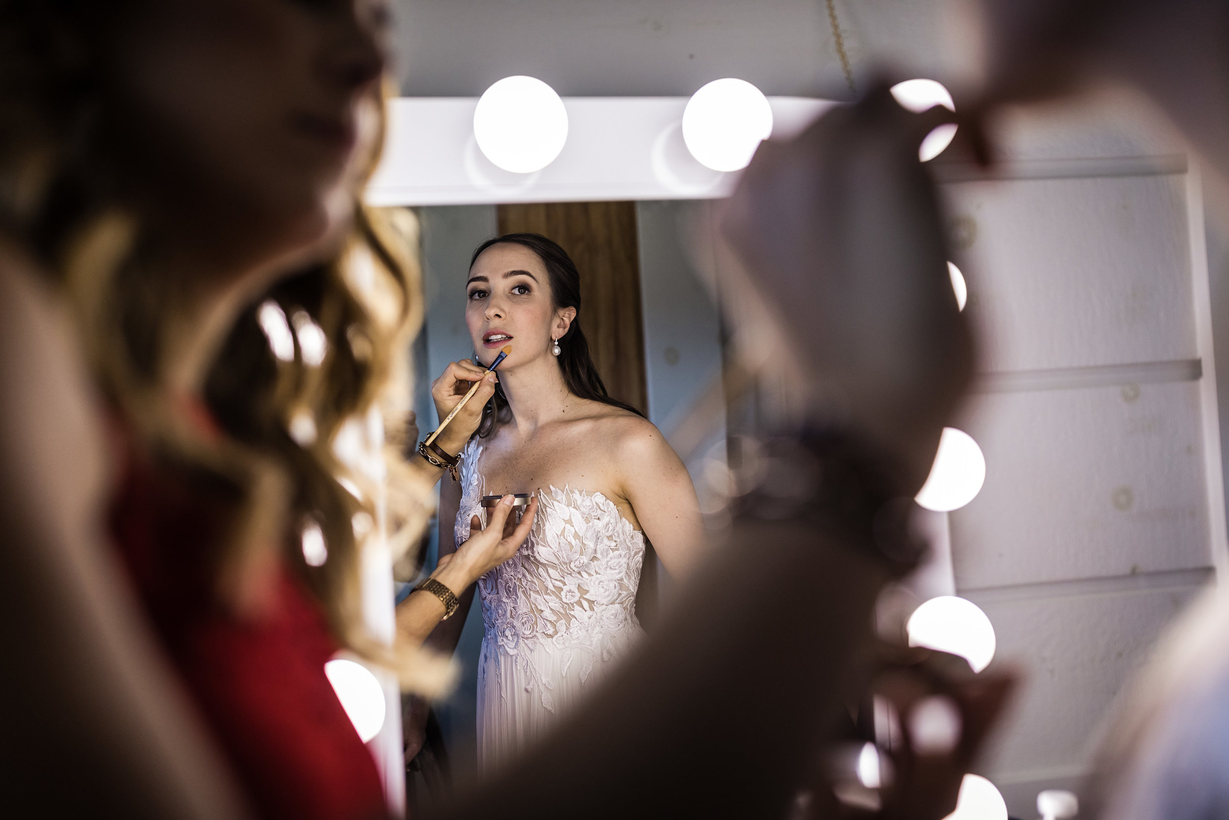 Hair and Makeup Stations in our Luxurious Bridal Suite Images: The perfect place to prepare for your Stowe Wedding.  Jag Studios