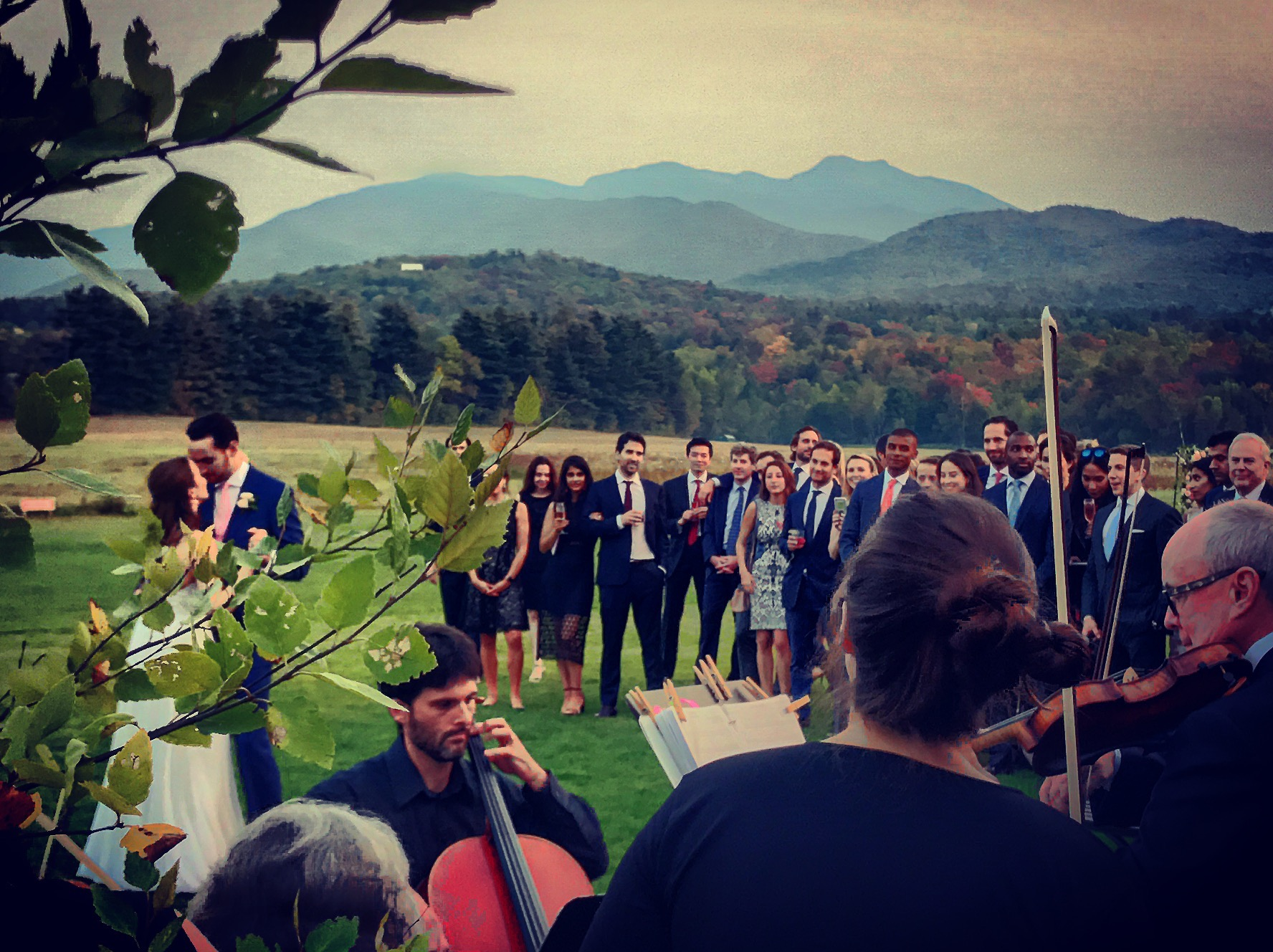 First Dance on the Great Lawn with the stunning Mt Mansfield in the background. Image: S DePalma iphone