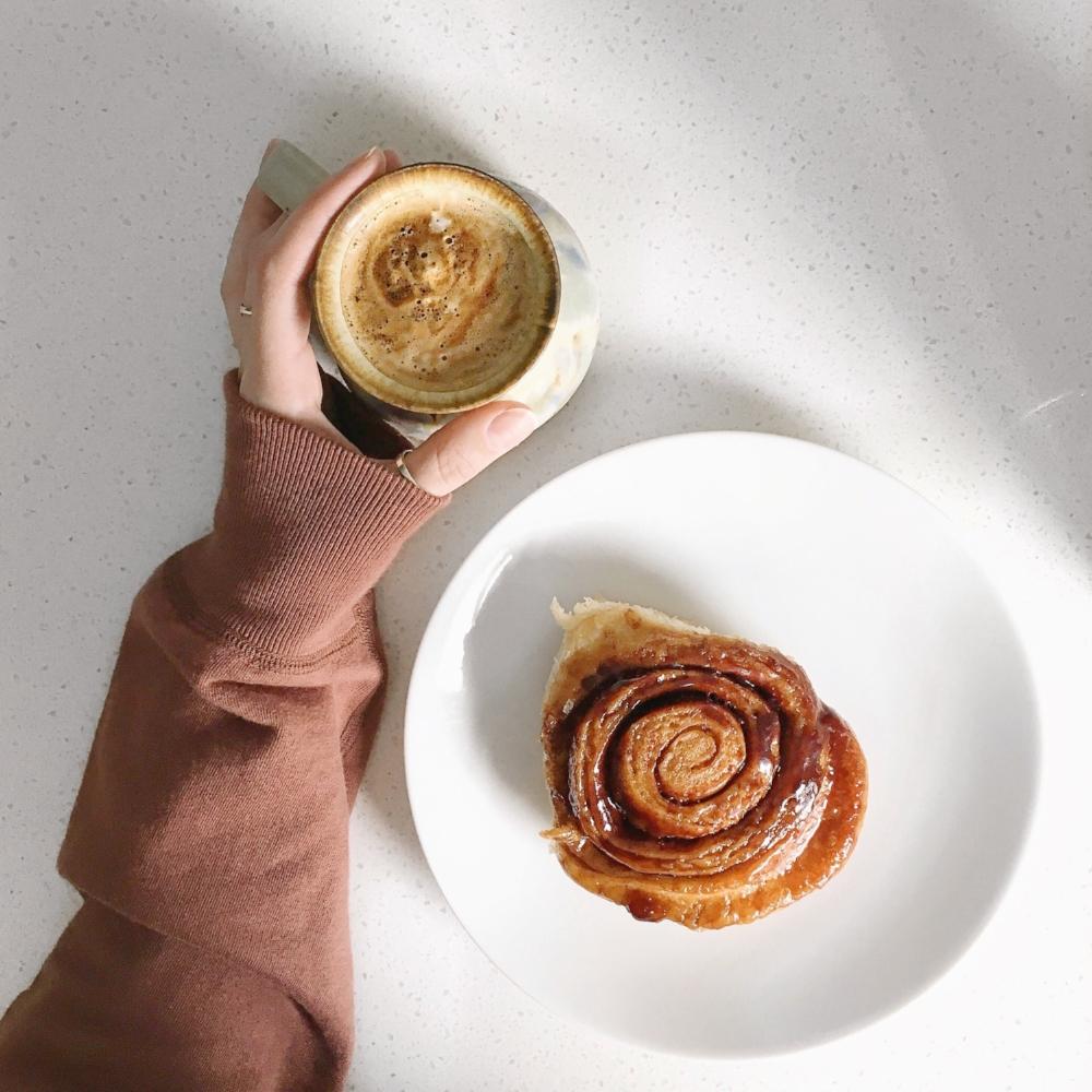 sunday morning americano and cinnamon bun