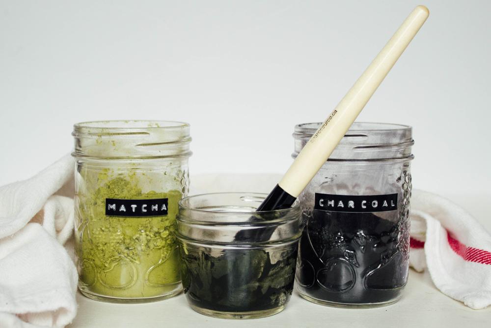 A super simple DIY face mask using activated charcoal powder and matcha green tea powder