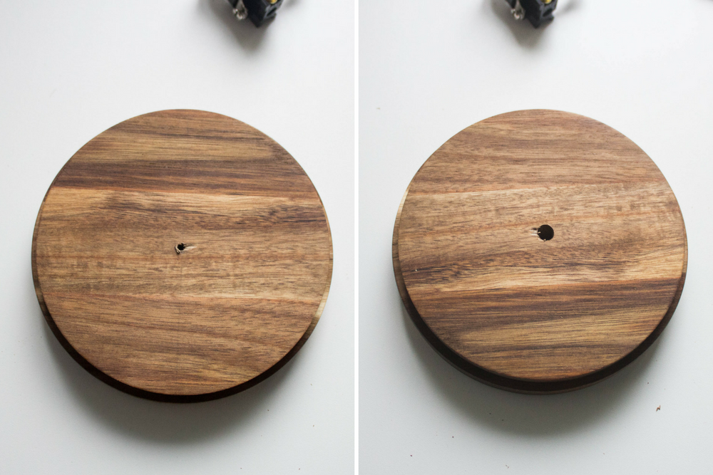 side by side image of drilled hole in middle of wood base gradually getting larger