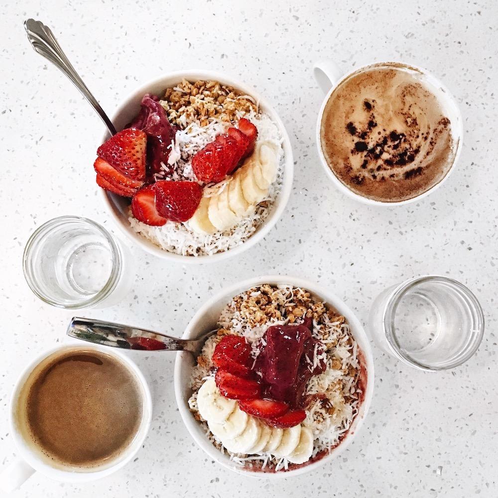 Breakfast acai bowls and coffee