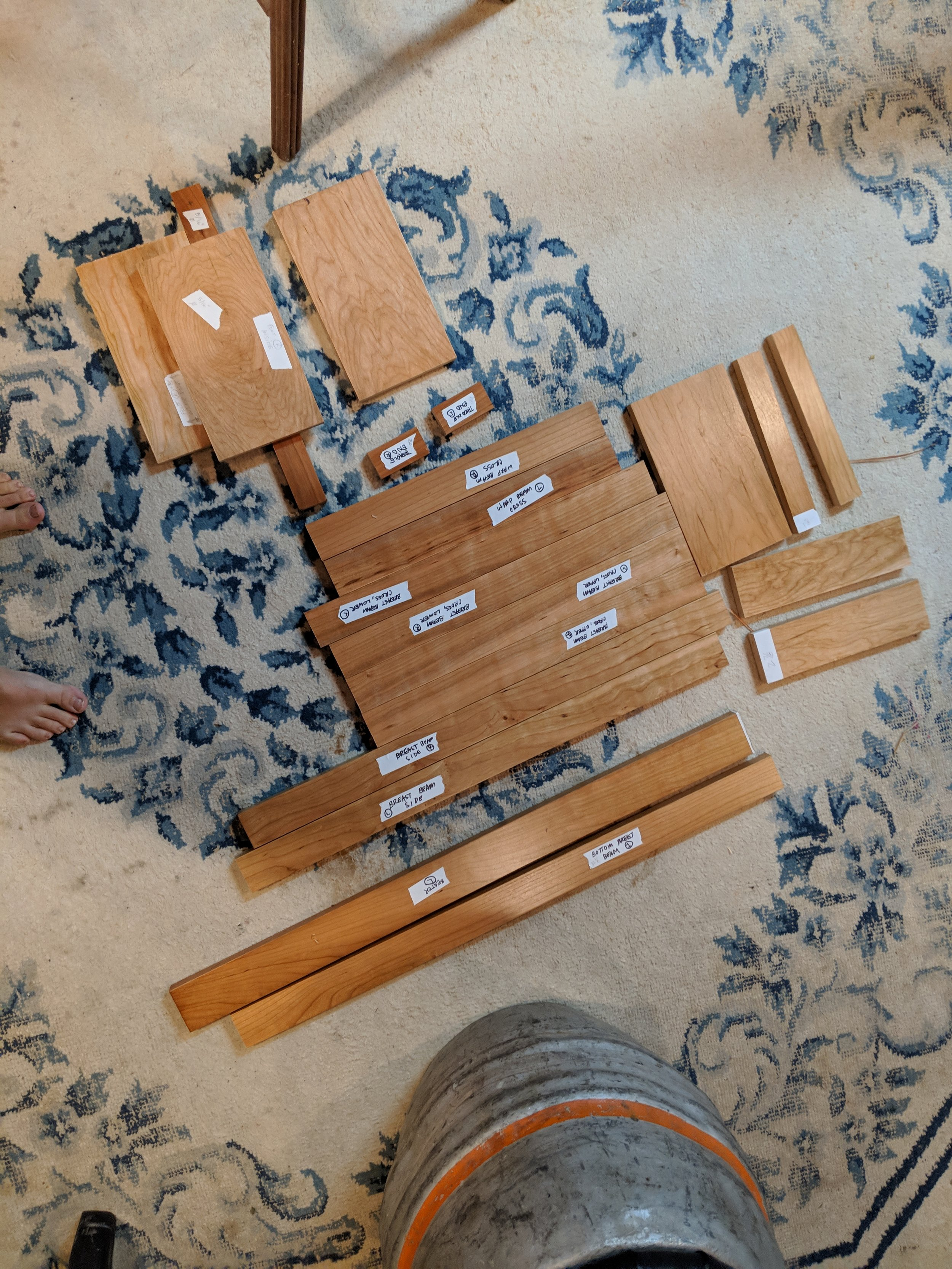 """All the wood cut and ready to be drilled. This is the most frightening thing I've done in a while. """"Measure twice, cut once."""" Just keep repeating that."""