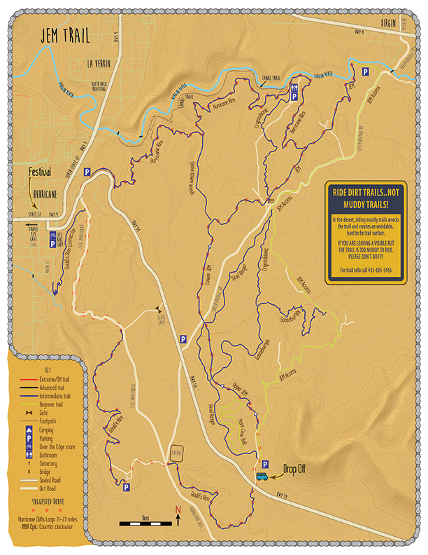 Map of JEM Trail Area. If you want the whole map, stop into Over the Edge and ask for a Manky map!
