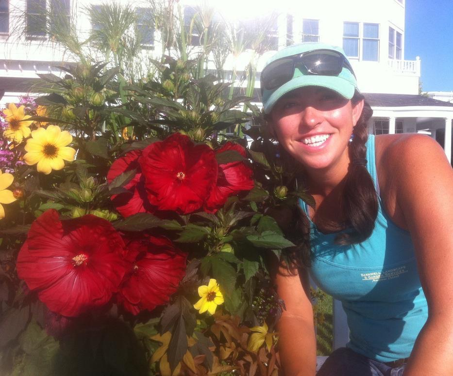 Gardening with a smile on Mackinac Island, Michigan.