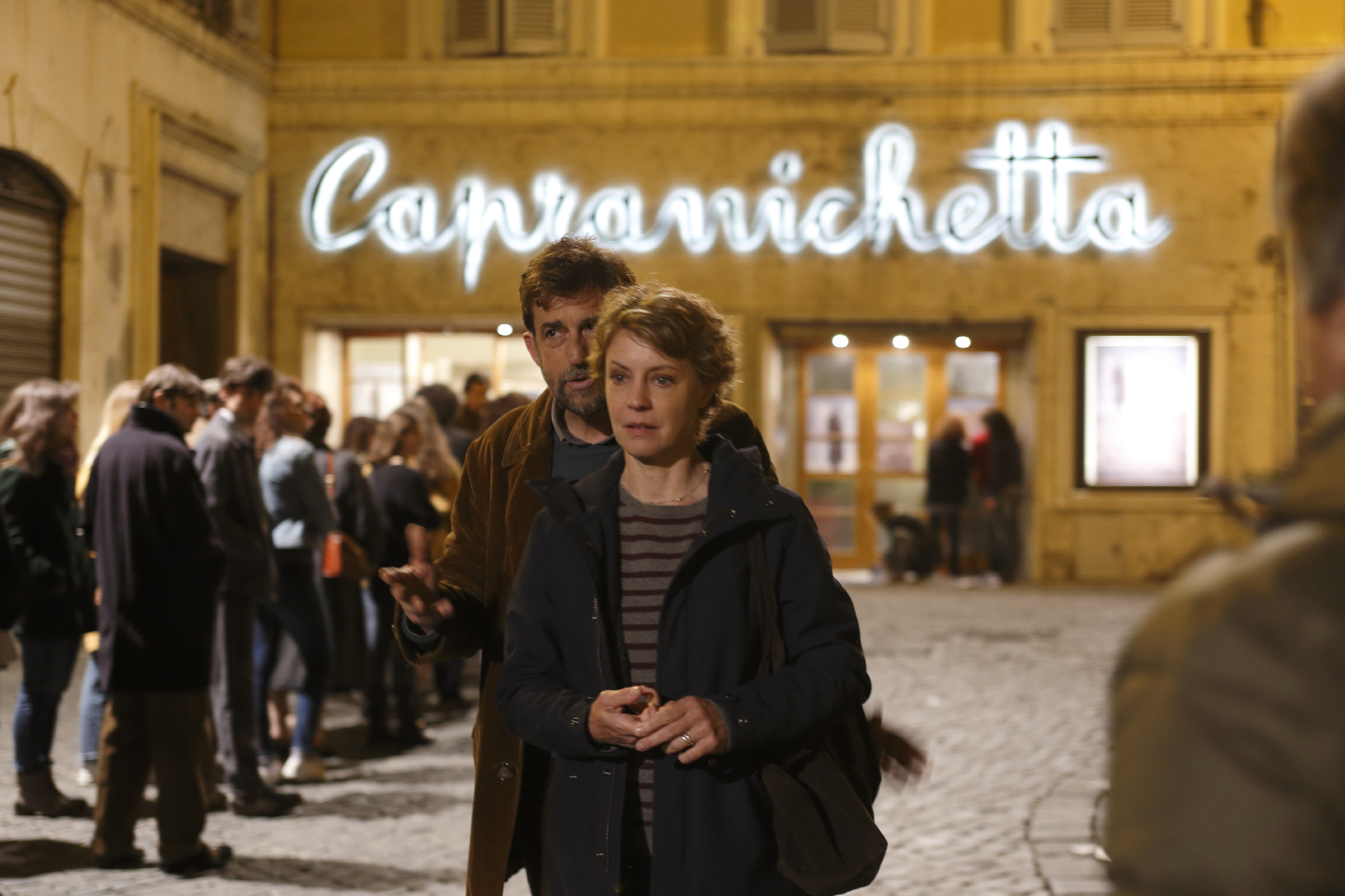 Nanni Moretti and Margherita Buy outside the Capranichetta Cinema in Rome.