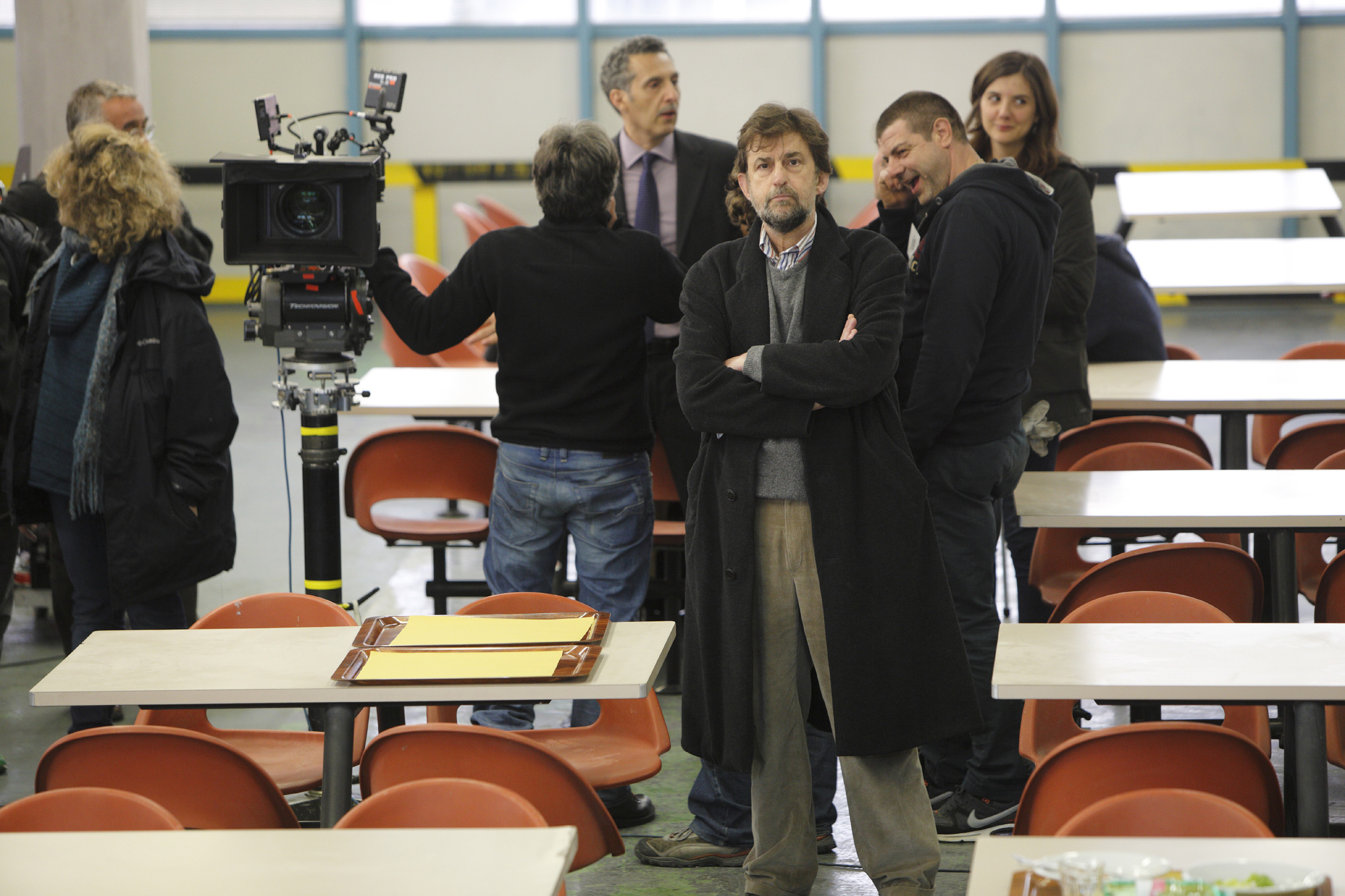 Nanni Moretti reflects on set.