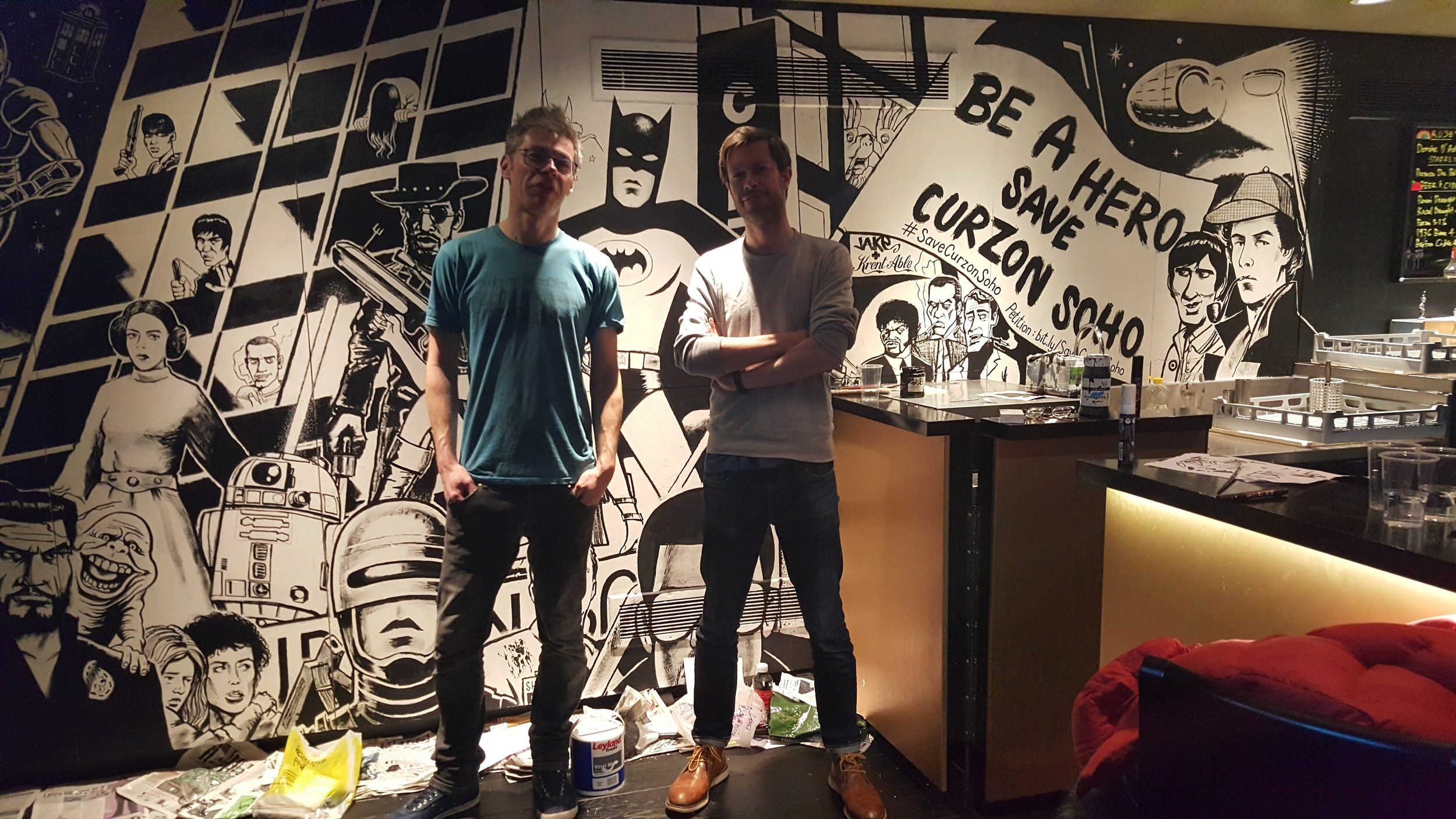 Artists  Krent Able  and  JAKe  at work on Save Curzon Soho mural - photo by Lilly Gallafent  @LilN1