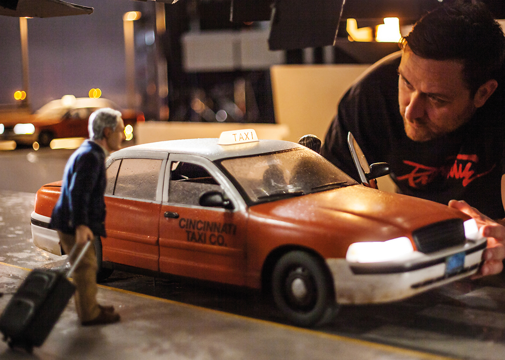 A taxi in the world of  Anomalisa , in which every character and prop was recreated at 1/6 of its real-life size.