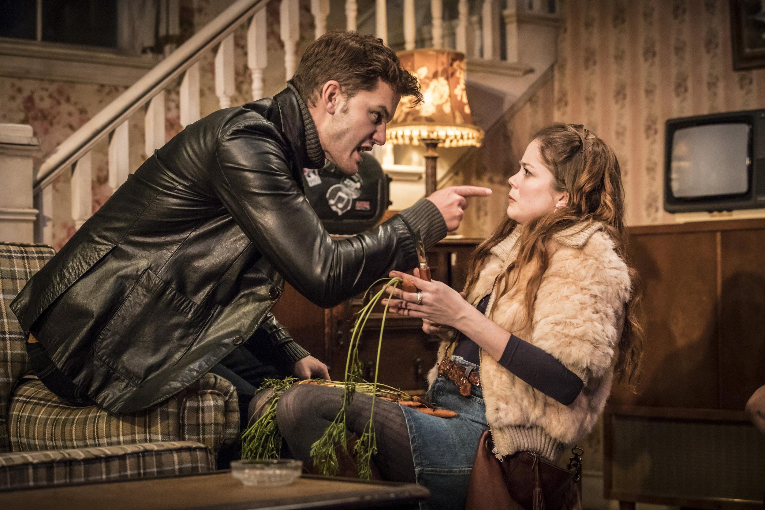 L-R: Jeremy Irvine as Vince, Charlotte Hope as Shelly