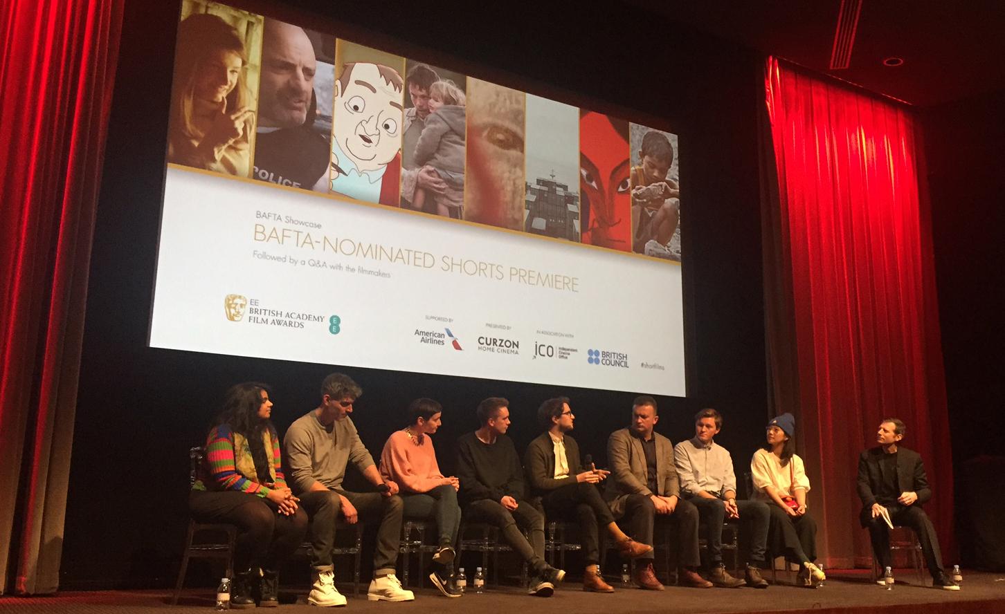 The BAFTA Shorts 2017 nominees at the premiere on 26 January (L-R Anushka Kishani Naanayakkara, Daniel Mulloy, Andrea Harkin, Jack Hannon, Richard John Seymour, Samir Mehanovic, Jac Clinch, Jennifer Zheng and interviewer Danny Leigh