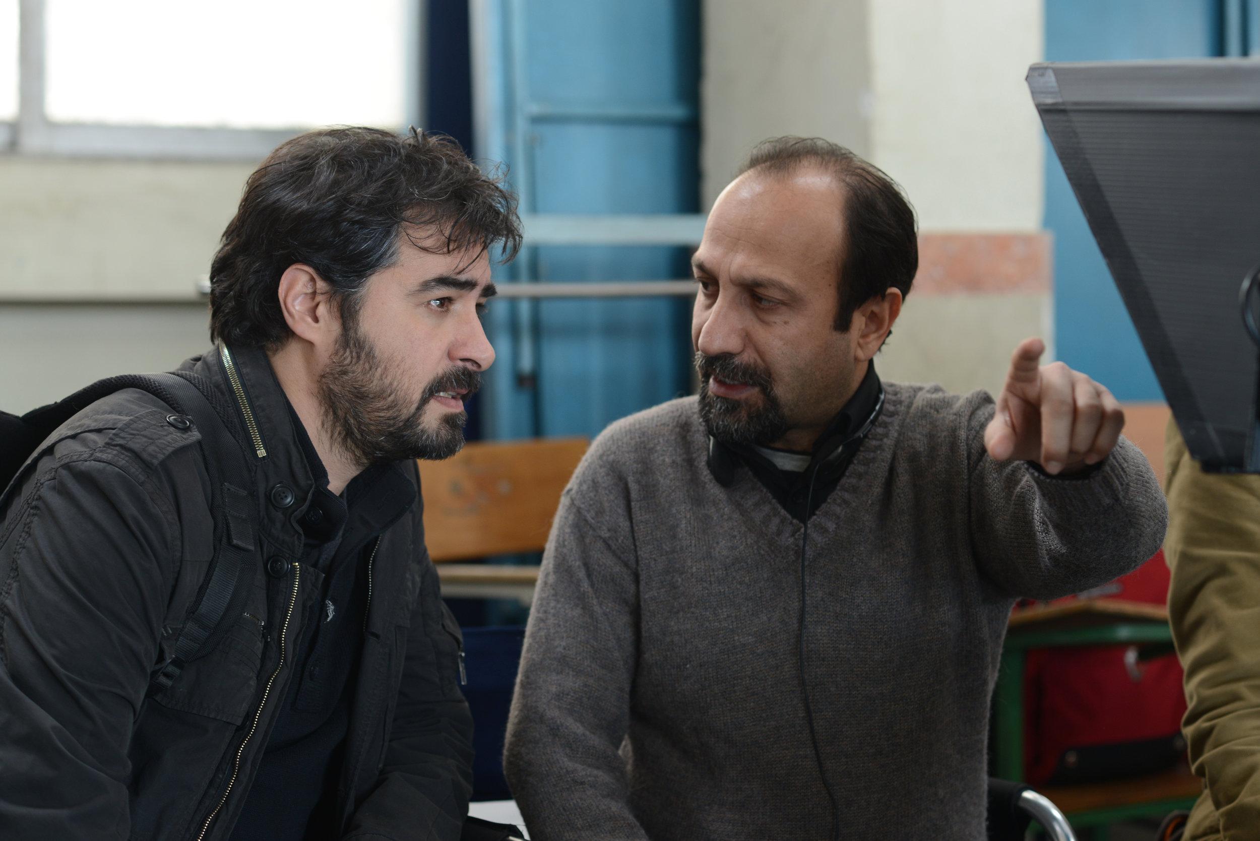 Asghar Farhadi on the set of  The Salesman with leading actor Shahab Hosseini ©Habib_Majidi