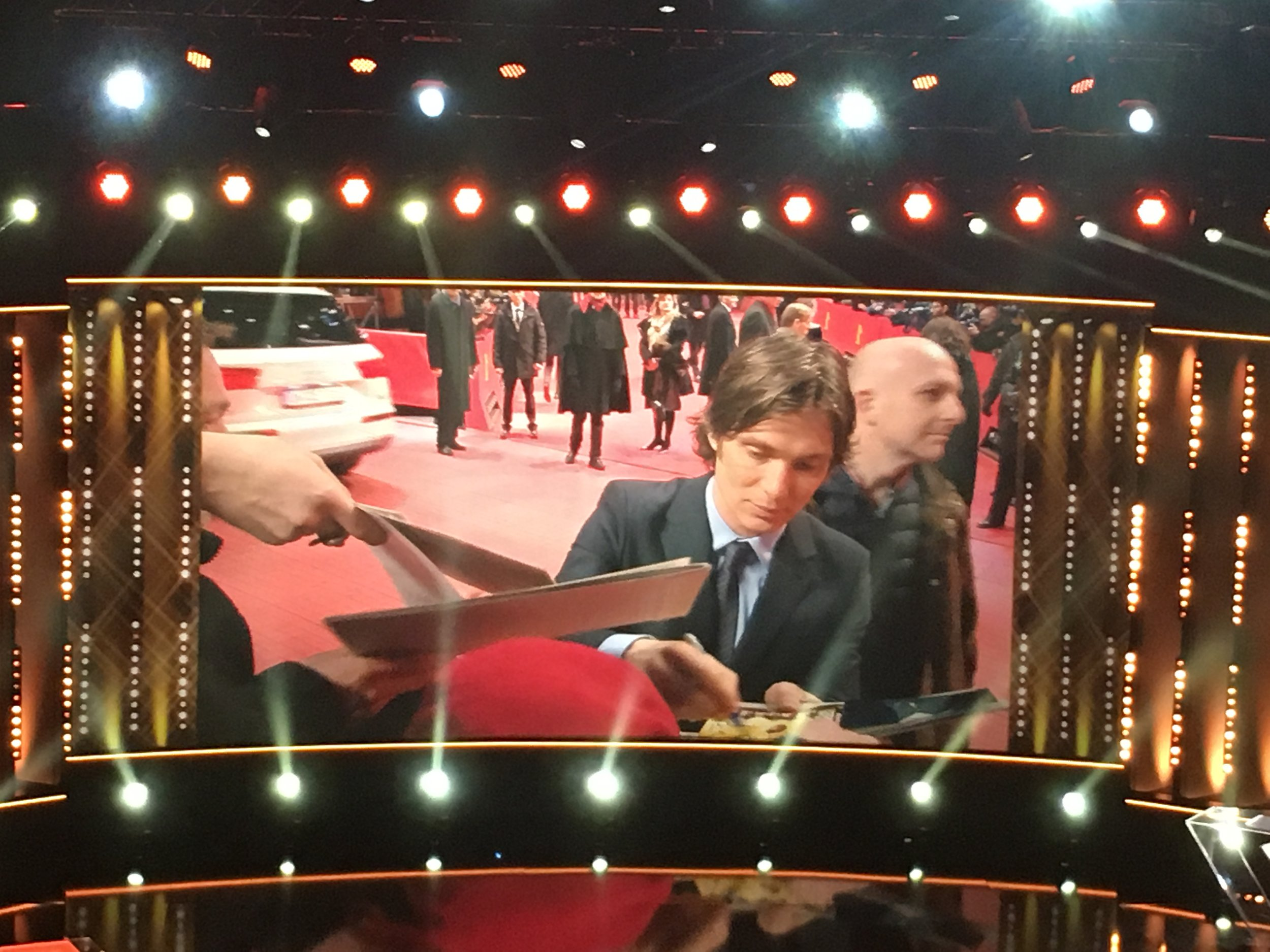 Cillian Murphy signs autographs in sub-zero temperatures at the Berlinale premiere of Sally Potter's  The Party  (from inside the Filmpalast)
