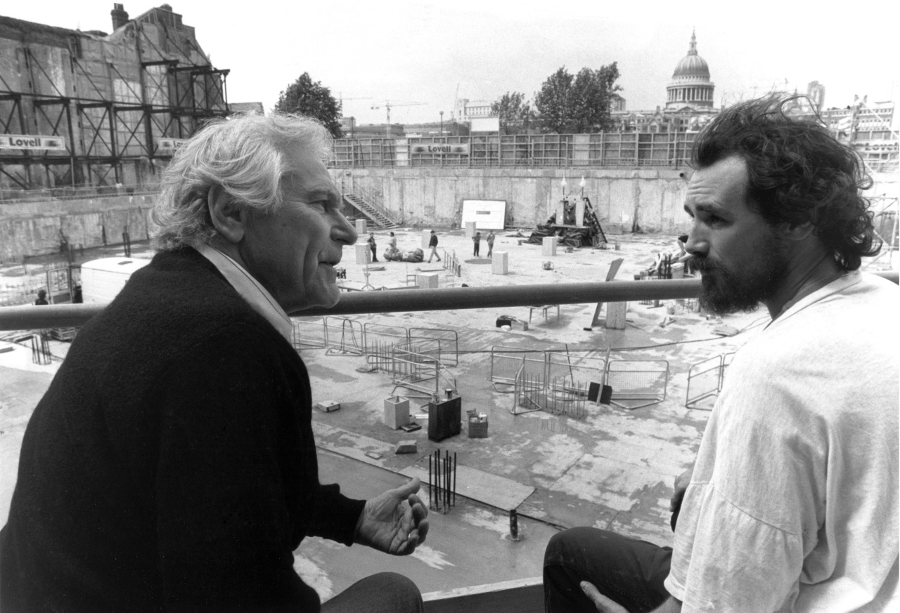 With Sam Wanamaker on the site of the future Shakespeare's Globe in 1991