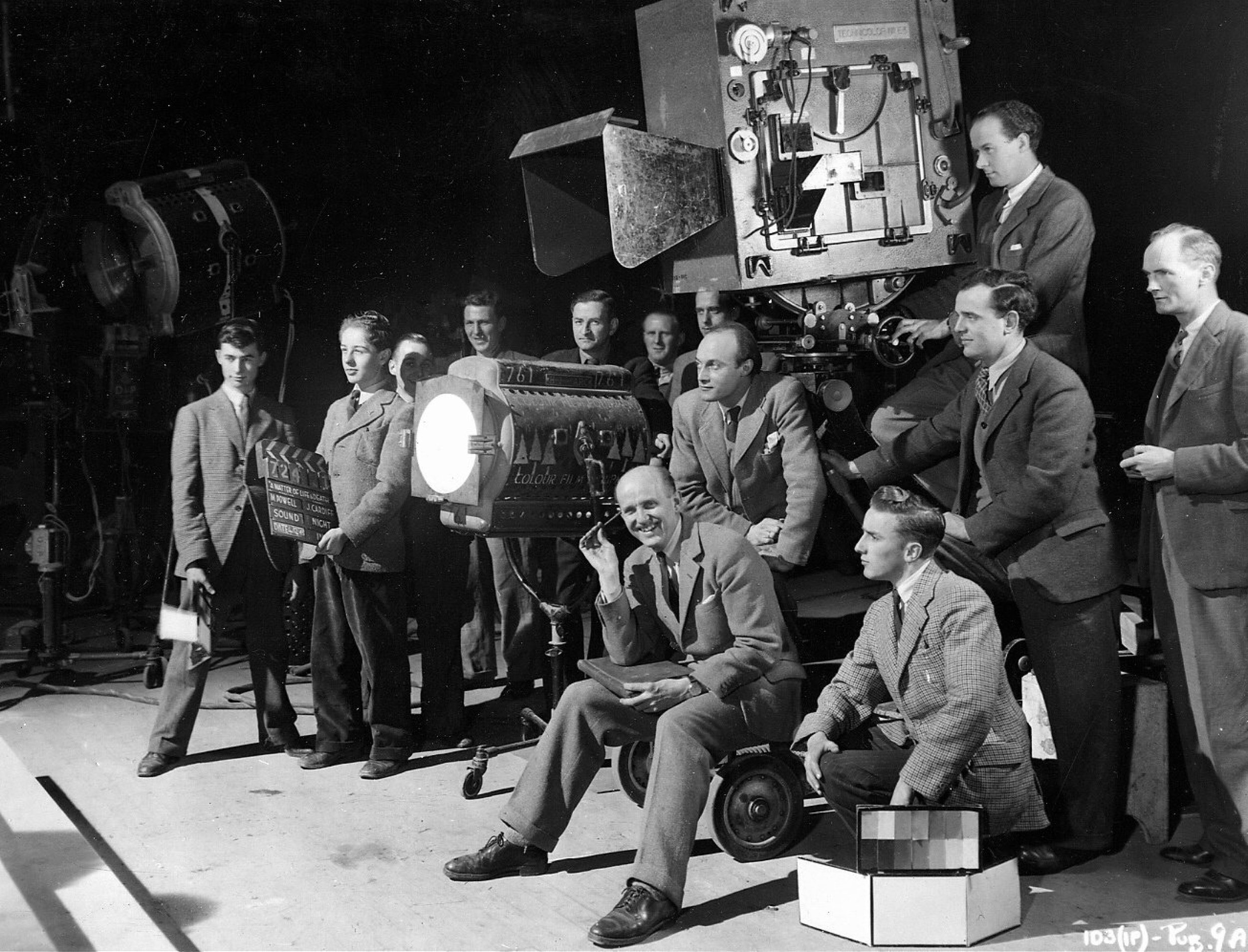 Co-director Michael Powell with the crew