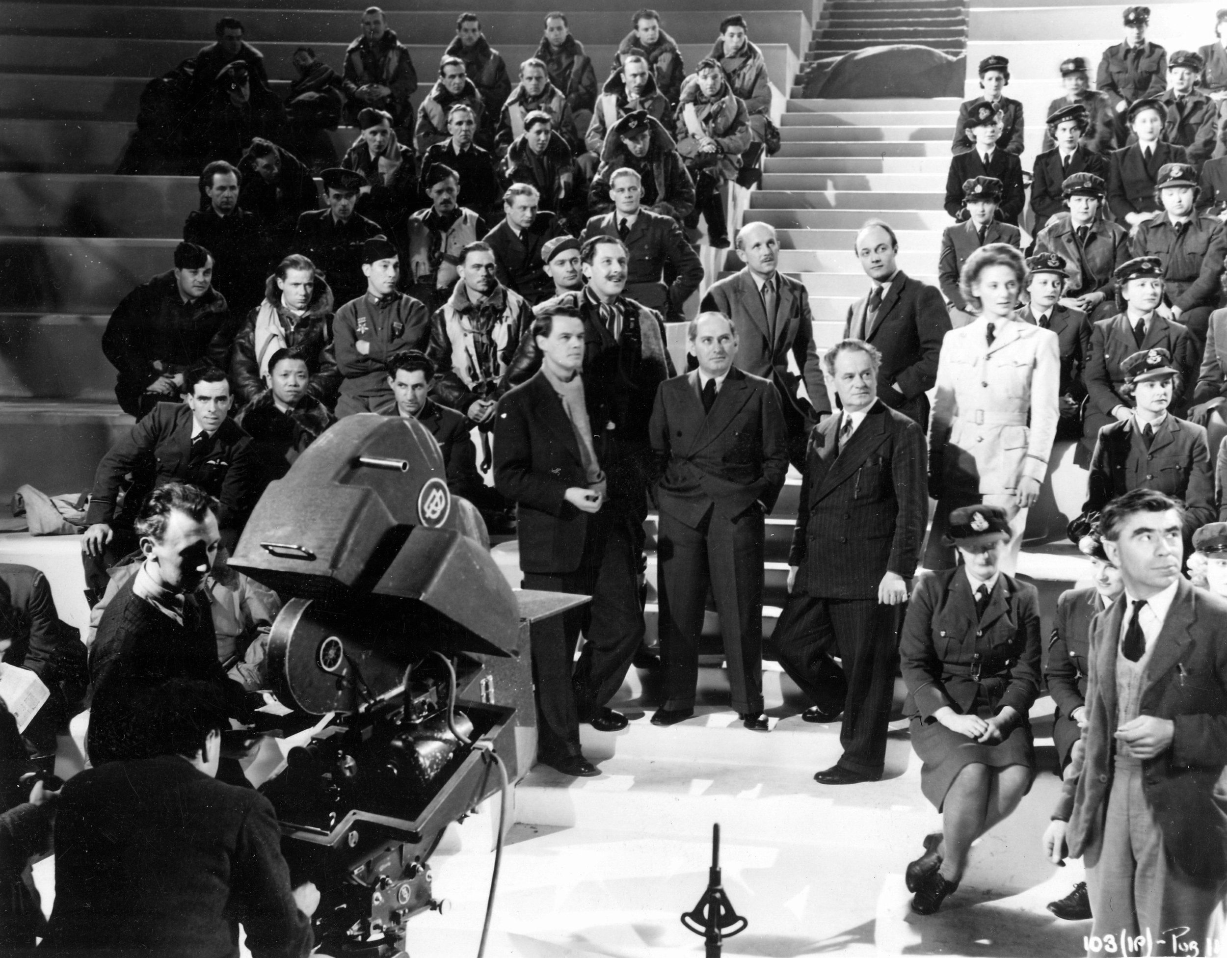 Emeric Pressburger, Michael Powell (centre) with the crew and cast