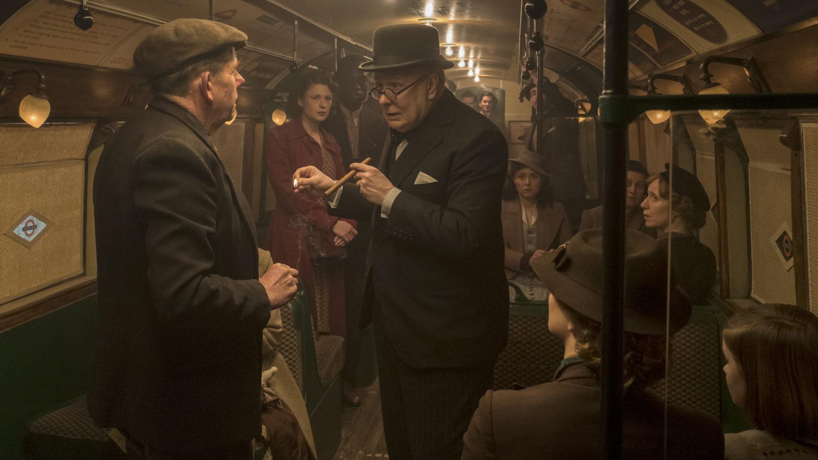 Winston Churchill rides the London underground in  Darkest Hour