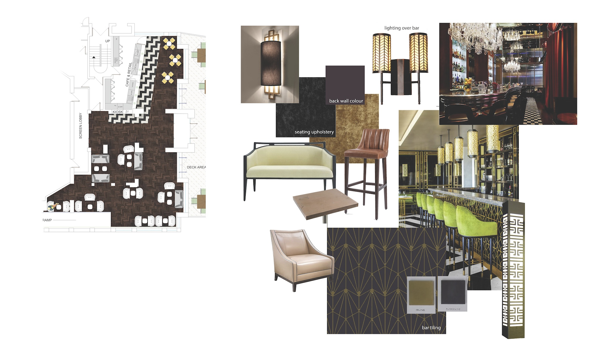Curzon Knutsford refurbishment mood board - iSpace Design