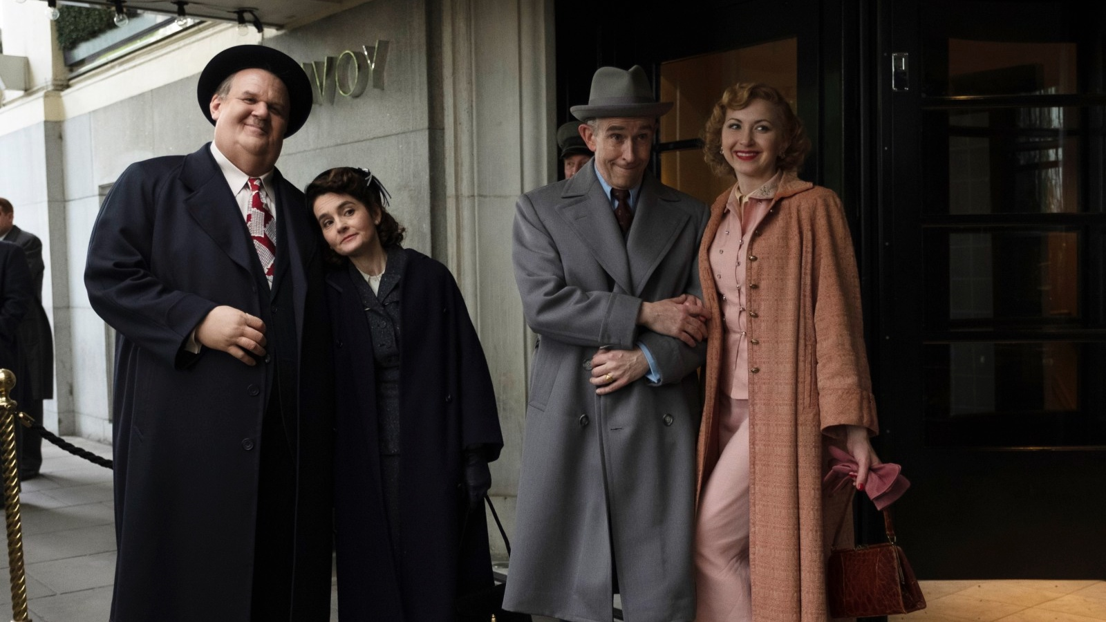 John C. Reilly at Oliver Hardy, Shirley Henderson as Lucille Hardy, Steve Coogan as Stanley Laurel, Nina Arianda as Ida Kitaeva Laurel