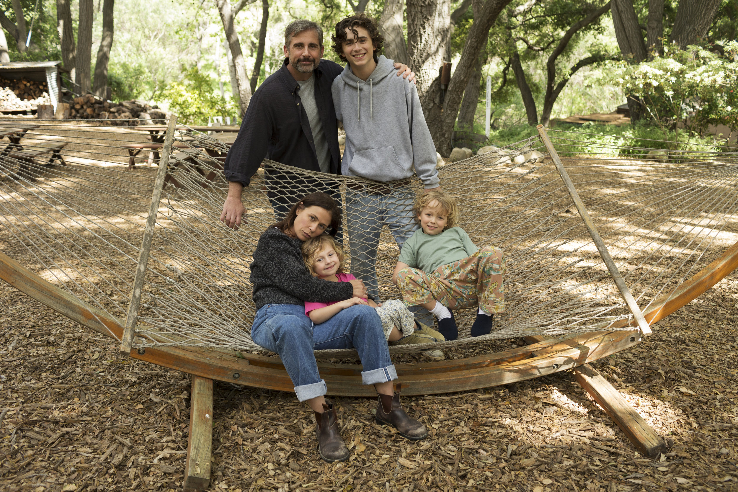 Steve Carell, Timothée Chalamet and Maura Tierney in  Beautiful Boy