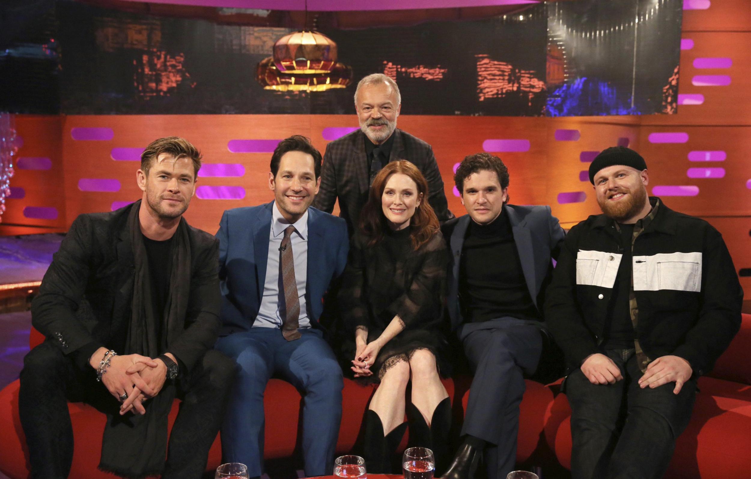 Chris Hemsworth, Paul Rudd, Graham Norton, Julianne Moore, Kit Harrington, Tom Walker on the  The Graham Norton Show