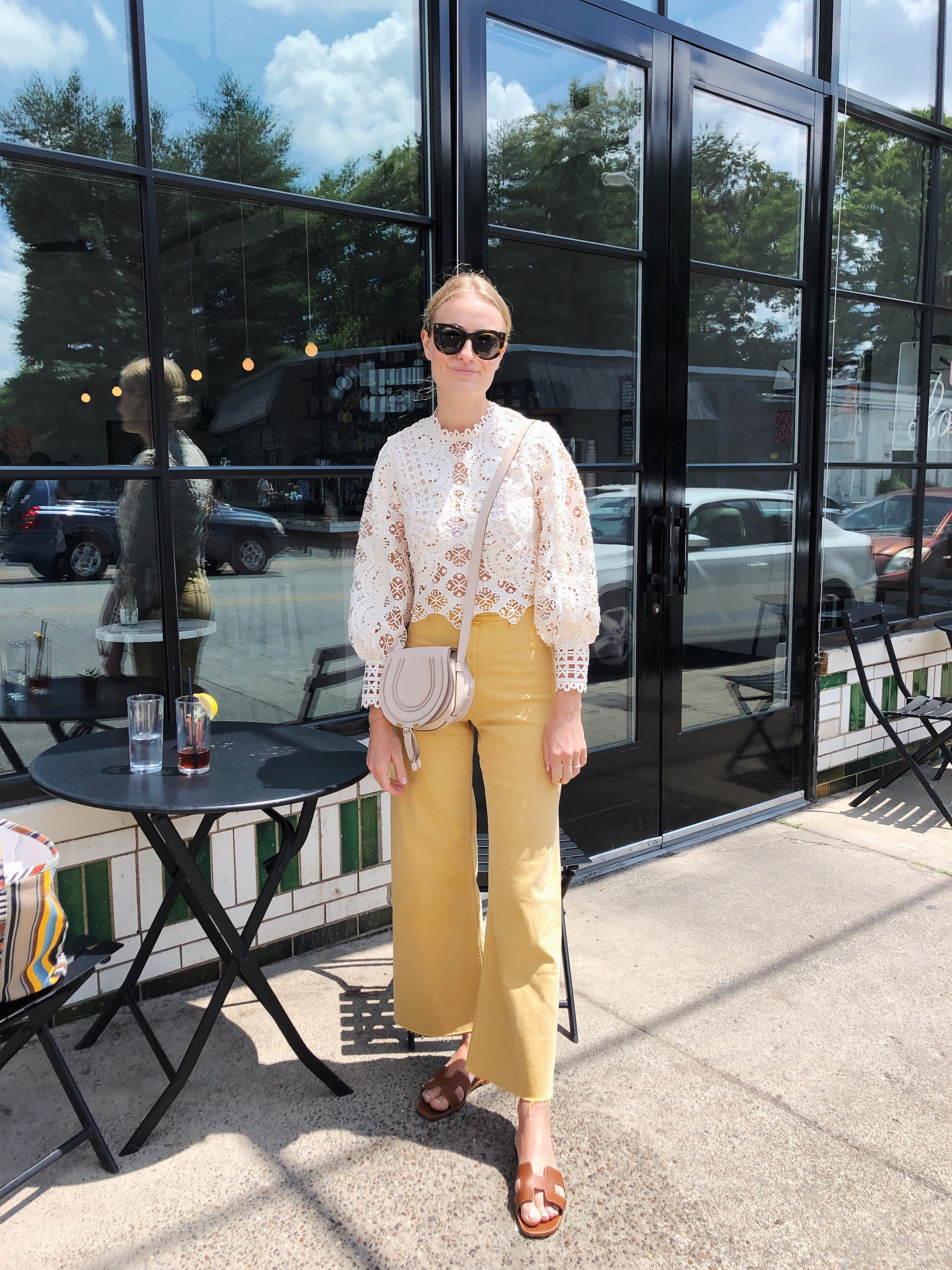 Stephanie Trotta // Hermes Oran Sandals // styled with yellow Zara pants and lace top