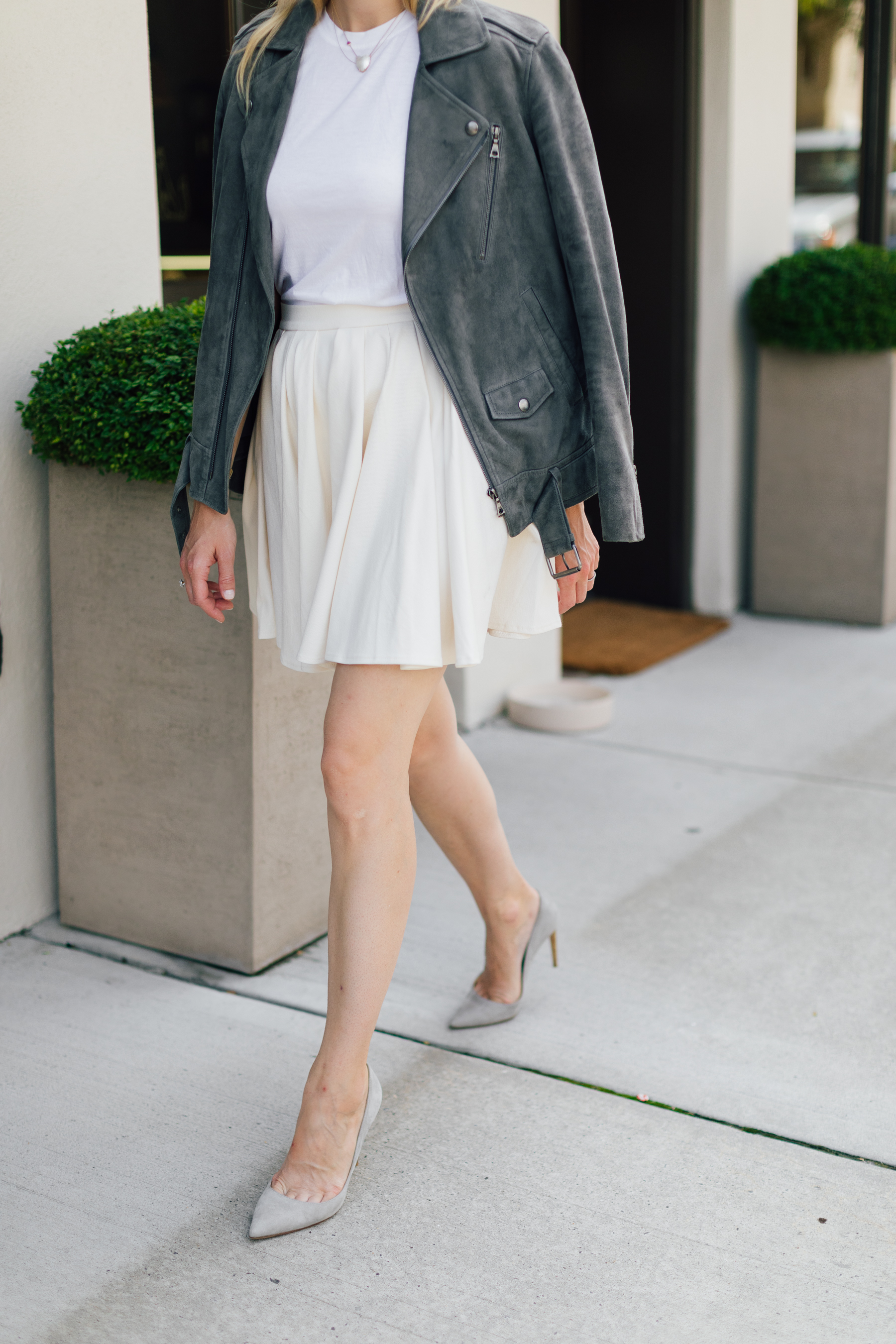 Mini skirt from H&M with a gray suede moto jacket // the girl guide // stephanie trotta