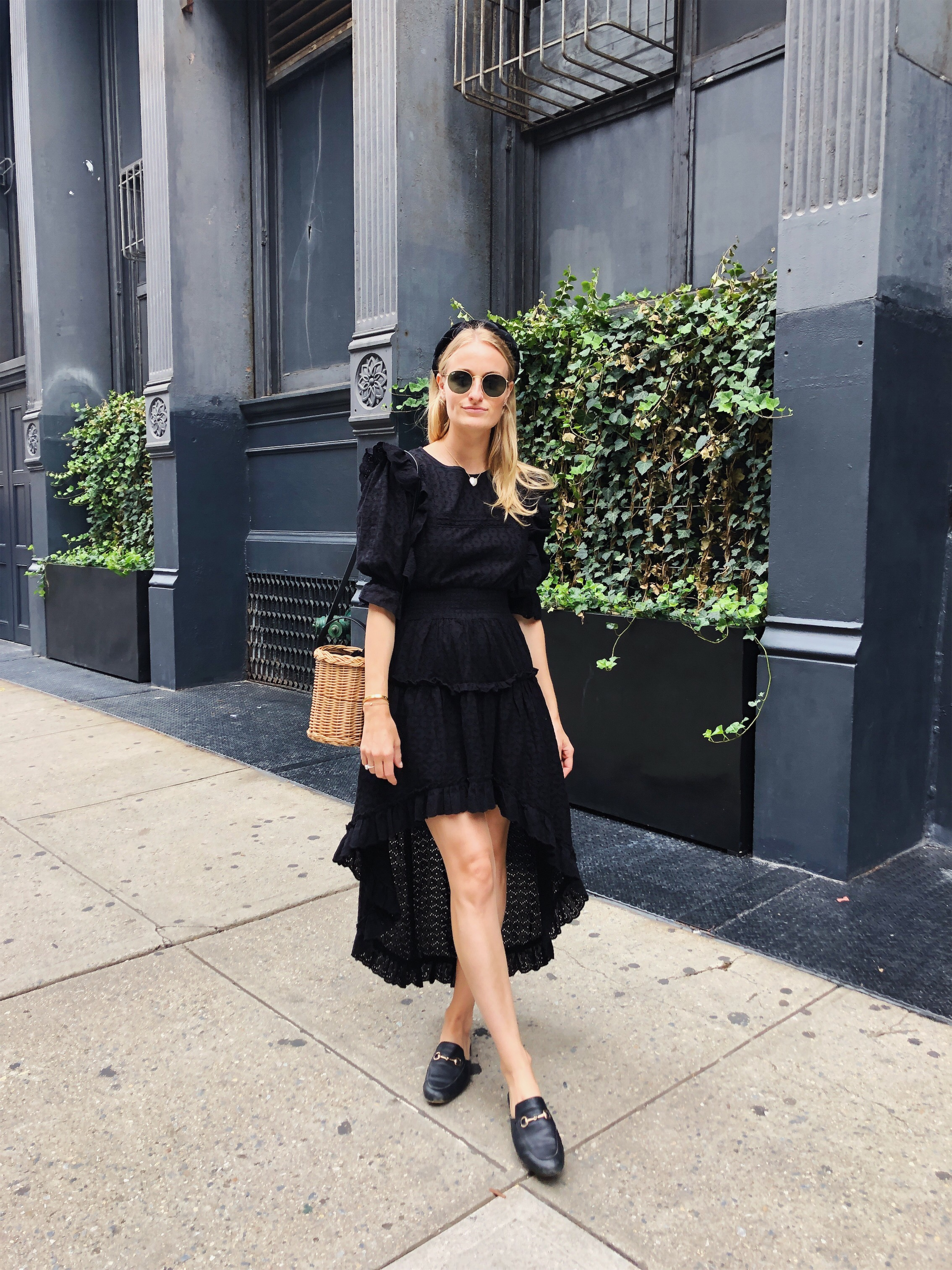 Stephanie Trotta in a black Misa dress with Gucci slides  and a Black Headband // Fall Style // The Girl Guide