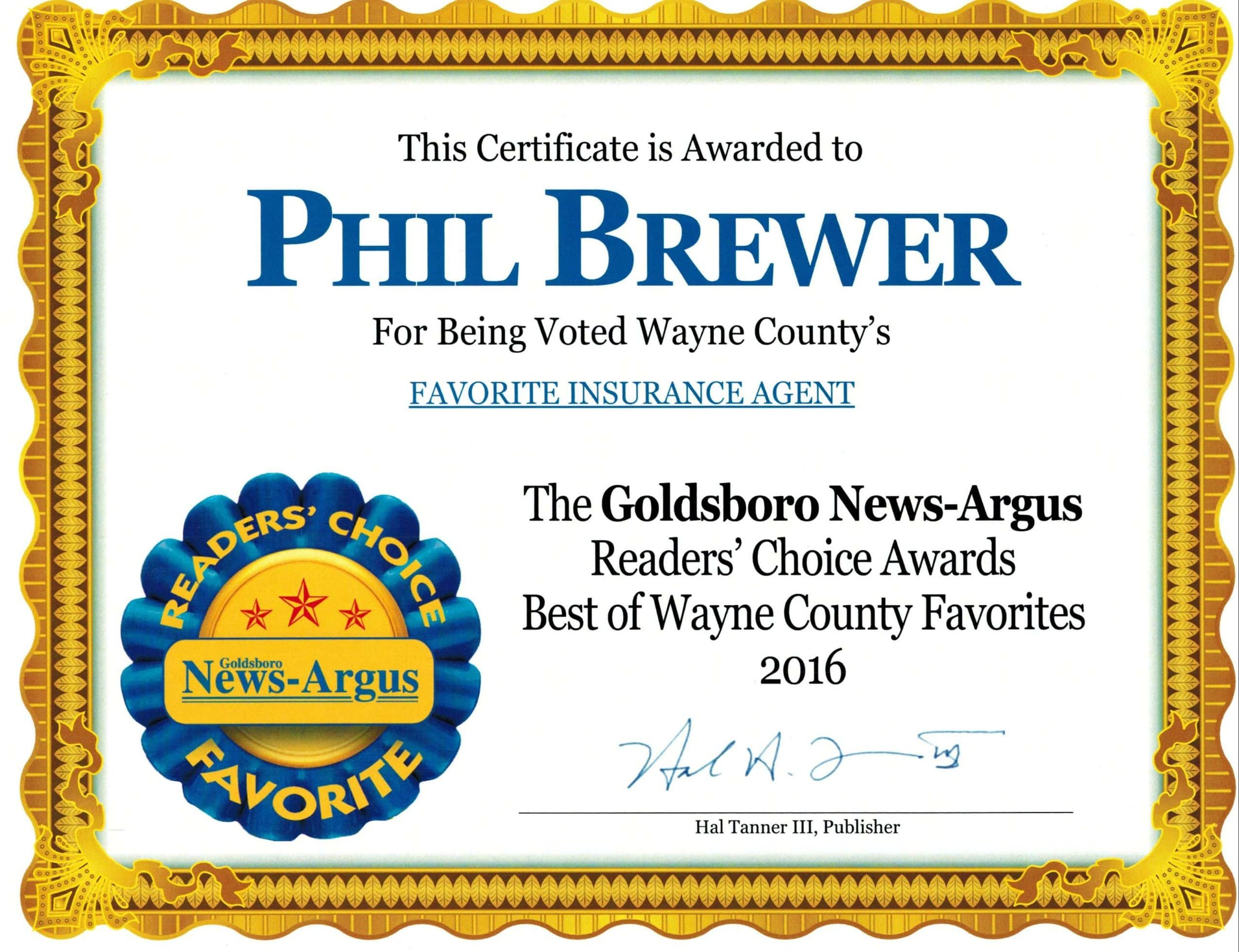 Goldsboro news-argus 2016 readers choice favorite insurance agent winner and HONORABLE mention for insurance agency!