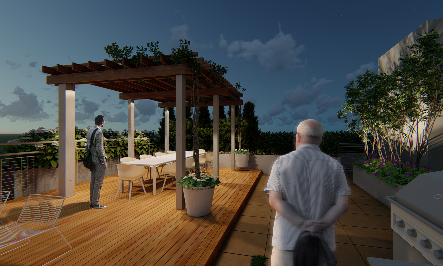 A pre-installation rendering of the pergola.