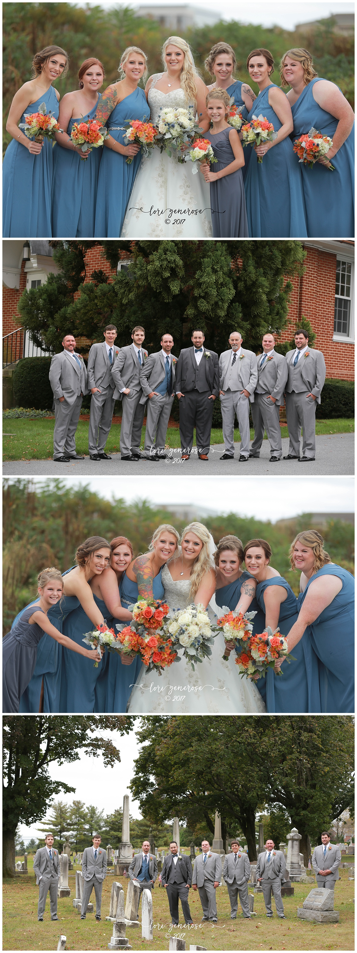 bridesmaidsinbluedressesgroomsmeningraysuitsfallwedding.jpg