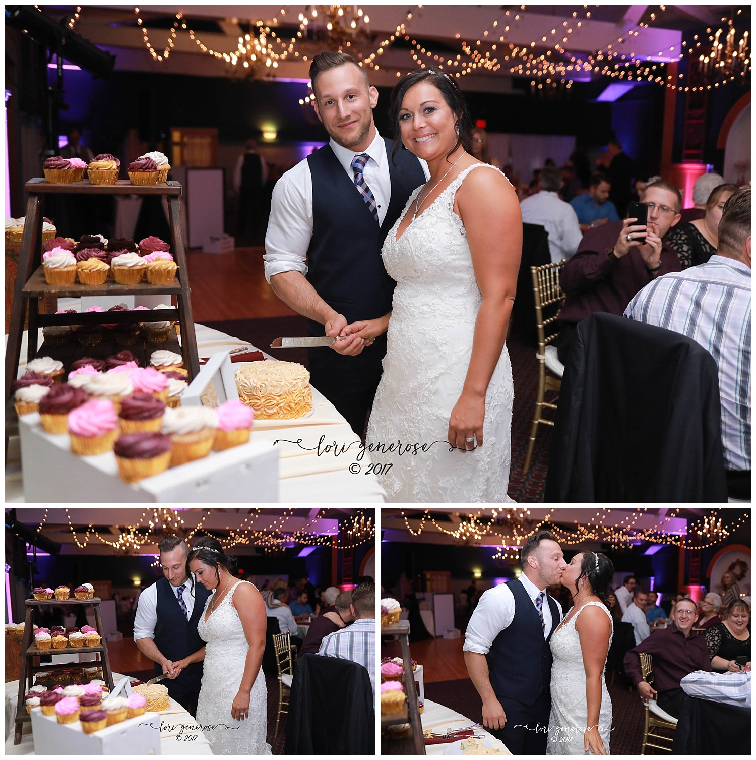 brideandgroomcuttingcakeatweddingreceptioncupcakesfallweddingatshawneeinnaandskiresort.jpg