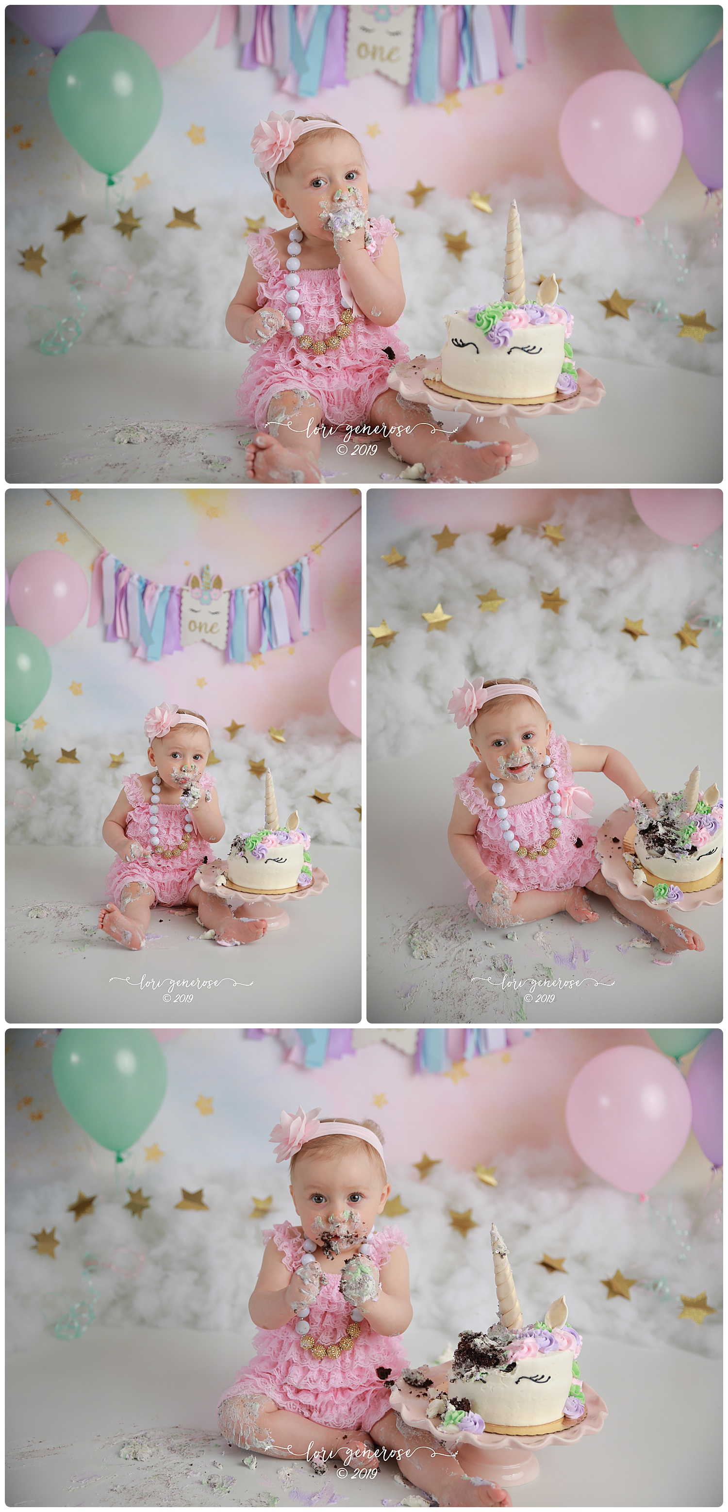 How gorgeous is this set up with baby McKinley?!?! I LOVE everything about it! And how is she almost ONE?!? I vividly remember her newborn photos ❤️  The Bakery Nook  nailed it with this cake! One of the most beautiful cakes I've ever seen!  Custom By Candice  did a beautiful job on the banner as well! Happy birthday sweet girlie 🌈
