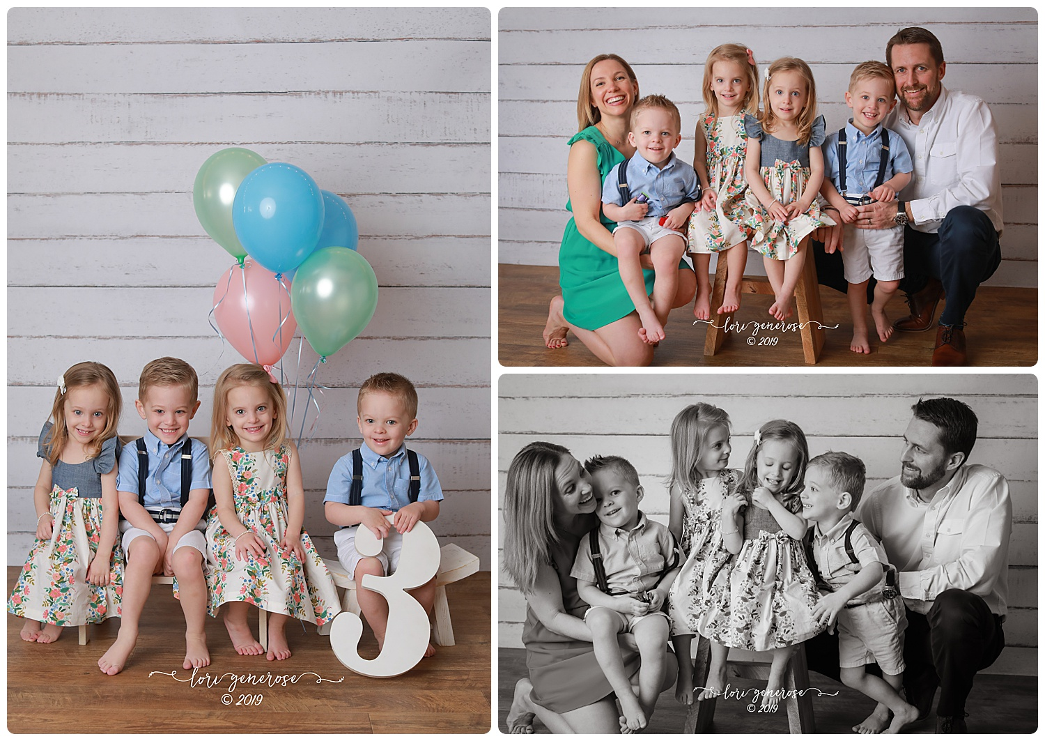 "When I see on my calendar ""quadruplet three year olds"" I think to myself, ""......well this could be interesting....!"" Let me tell you about this awesome family I got to meet 💚 Mom and Dad are patient and kind as all get out, easy going and had one goal which was to have all six of them in a photo and 'they all don't even have to be looking'. Left in the top right photo is Tucker, notice the cars in his hands... he scouted them out in the studio the minute he walked in! He was the toughest to get to smile because all he wanted to do was play with the cars but he couldn't resist my ""Hot Dog Song""! Next in that photo is Grace. She's a dancer. She wanted to see the photos on the back of my camera and thought my ""Baby Shark"" was pretty spot on. Then there's Caroline, a little more reserved but still a little silly. She liked it best when she was sitting on the bench with her sissy and she liked my fake sneeze trick. And then there's Cole. He's the leader of the group from what I can tell and the class clown. The silliest of all with zero percent shyness. He was sneak attack tickling me every chance he got, sitting on my lap while I photographed his siblings and he was a pro at posing from the word go. I'd say this is pretty good for their first professional family photo considering no photoshopping was needed. To mom and dad, I'm so happy I could be the first one to give you a photo that you will look at forever with feelings of happiness that will only grow stronger as the days go by. Life is crazy... but it's so much more beautiful than crazy. These are the days. So happy I got to meet these guys. They brought me more joy than I can even describe in words 💕"