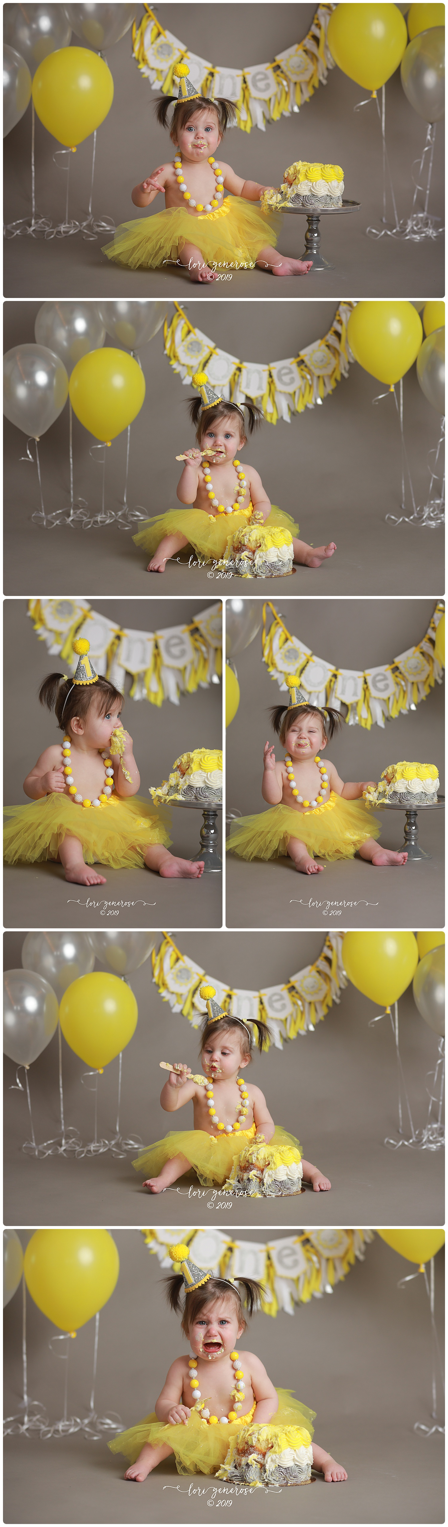 I love love LOVE everything about this cutie's cake smash! I can't get enough of this setup and color scheme! Yellow is my favorite color so I was instantly smitten and I love how unique her theme is too. Her gorgeous banner is from  Tickled Pink Party Shop  and her adorable little party hat is from  Kutie Bow Tuties .