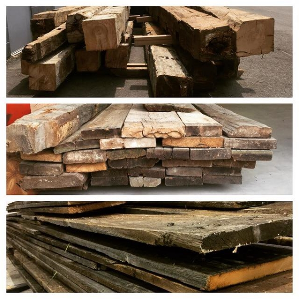 """Top - Barn Beams  Middle - 2"""" Brown Board (Hemlock)  Bottom - 1"""" Grey Board (Barn Board)  Stocked up and ready to go! All of our materials are kiln dried."""