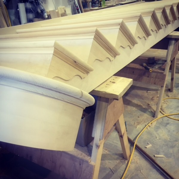 """1-1/16 White Pine Stairs with """"Victorian"""" style gingerbread accents. This stair also has 3/4"""" pine cove under each of the treads.  Job Location: Collingwood, Ontario"""