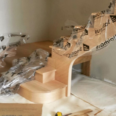 Custom Heel and Parlor Stairs (notched into each other)  Job Location: Sudbury, Ontario