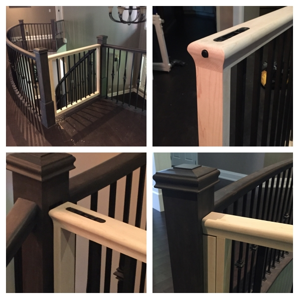 """Custom Baby Gate  Flush bolt recessed/hidden in top railing. Upgraded standard railing profile with 5/8"""" square satin black spindles.  Job Location: Snow Valley, On."""