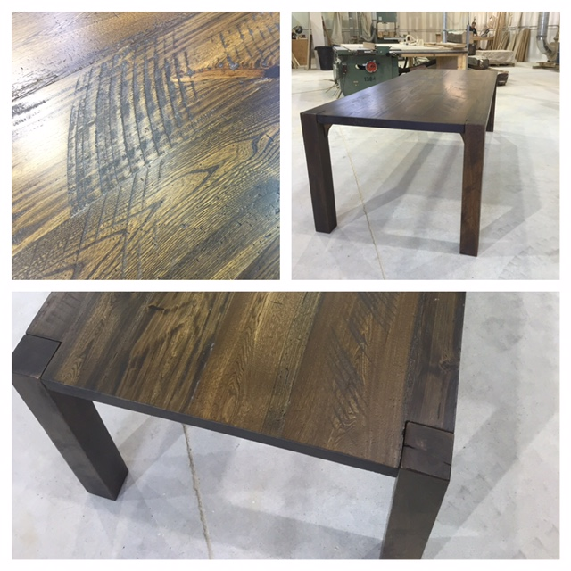 "Low-Profile custom harvest table. 4"" Wind Bracer legs. Ebony/Walnut finish"