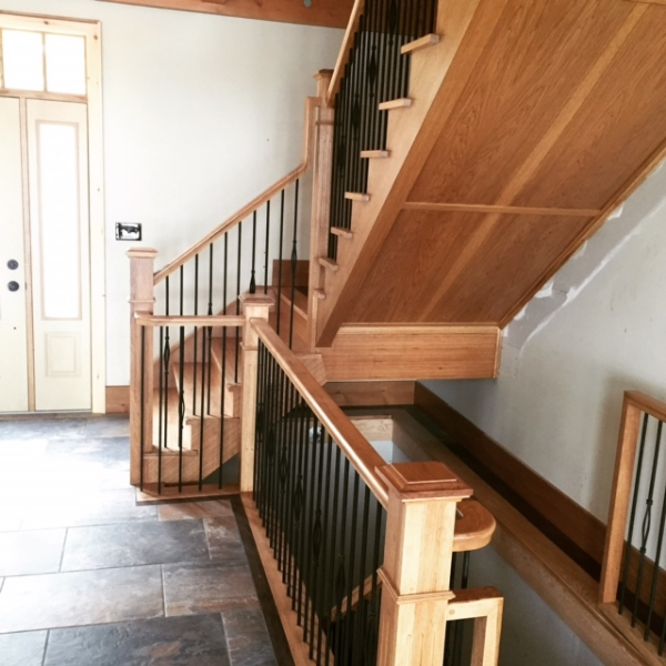 Custom hickory self support landing built into the stairs. Open 1 Side.  Job Location: Sudbury, ON