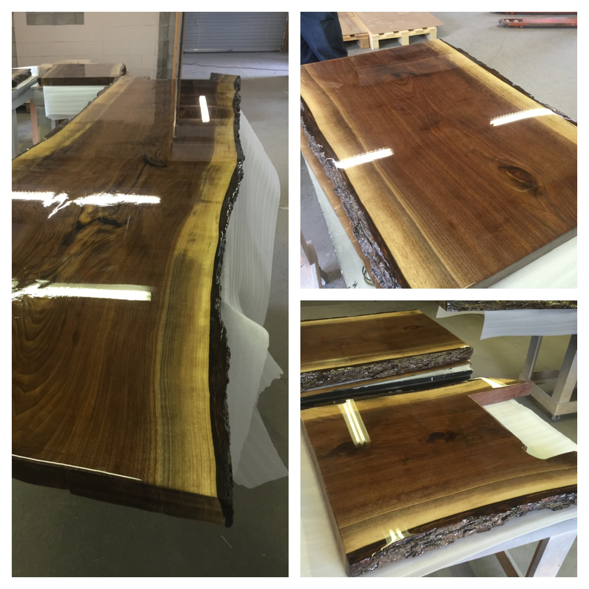 """2"""" Walnut live edge slab with an epoxy finish."""