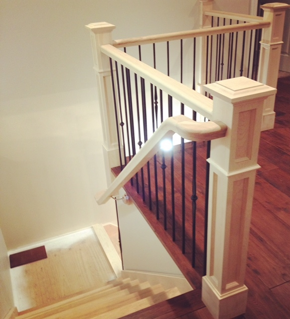 """Standard Hickory Railing, 4-1/2"""" Double Square Paint Grade Posts with Base, TL261-1-40 & TL261-4-40 Wrinkled Black Spindles.  Job Location: Wasaga Beach, ON"""