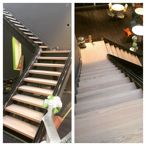 """We capped these steel open rise monsters downtown Toronto. We used solid oak tread caps with a 2-3/8"""" double face (one of the front & back). We supplied and installed the landing material as well (biscuit jointed red oak). The stairs were not built by us however will have glass guards on the open side installed shortly.  Job Location: Toronto, ON"""
