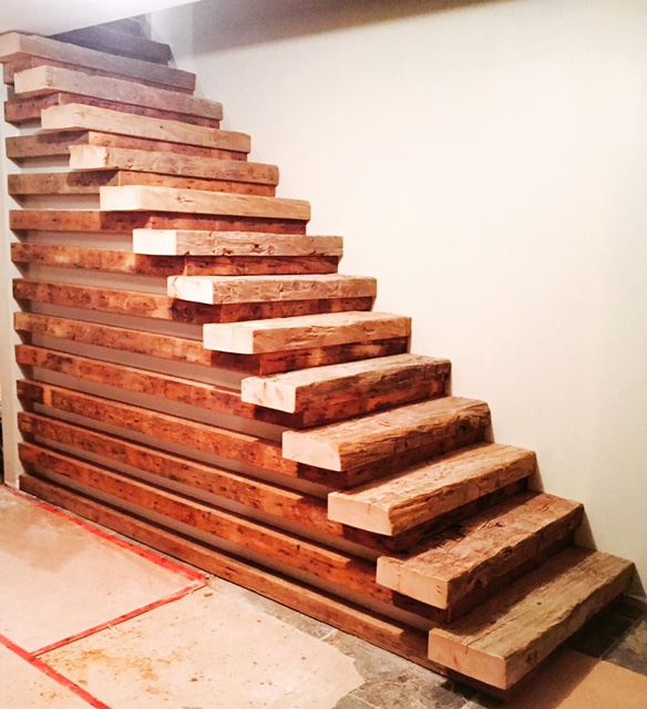 """4"""" barn beam skins for treads, 3""""x3"""" wind braces for risers and returns. Job Location: Blue Mountain, ON"""
