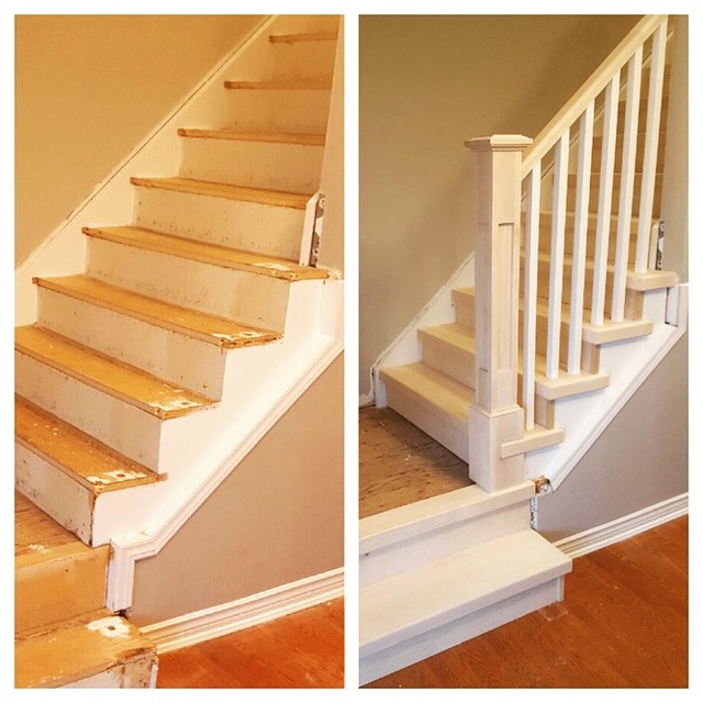 Maple Tread Caps, 4-1/2 recessed panelled post with cap, 1-5/16 paint grade spindles. Job Location: Barrie, ON