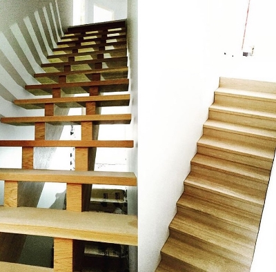 Open rise white oak stairs. The stringer offset is closer together than we normally do, turned out awesome. Basement stair is an infinity closed rise, risers 2 & 3 have pull out drawers (pics to come) Job location: Barrie, ON