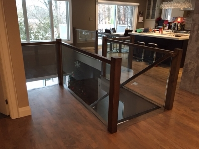 """3-1/2 Contemporary maple post, contempory maple railing, 3/8"""" clear tempered glass - supplied and installed by Stairhaus. Job Loctaion: Midhurst, ON"""