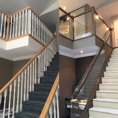 """Before/After  3-1/2 Contemporary maple post, contempory maple railing, 3/8"""" clear tempered glass - supplied and installed by Stairhaus. Job Loctaion: Midhurst, ON"""